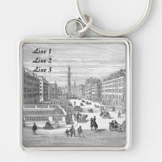 Etiqueta del equipaje del llavero de Dublín de la Llavero Cuadrado Plateado