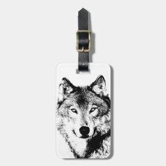 Etiqueta del equipaje del lobo etiquetas para maletas
