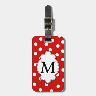 Etiqueta del equipaje del lunar del monograma etiqueta de equipaje