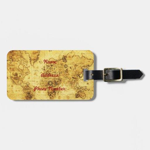 Etiqueta del equipaje del mapa de Viejo Mundo del  Etiquetas Para Equipaje