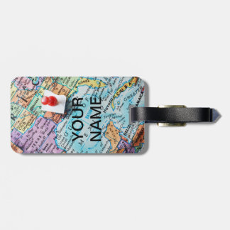 Etiqueta del equipaje del mapa etiquetas bolsa