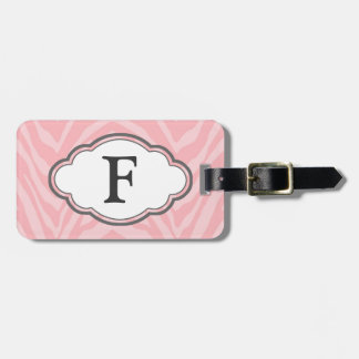 Etiqueta del equipaje del monograma - cebra rosada
