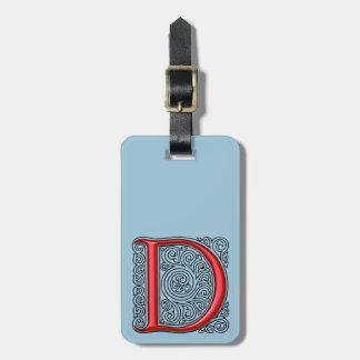 Etiqueta del equipaje del monograma de D Etiquetas Maletas