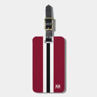Etiqueta del equipaje del monograma de la raya de etiqueta de maleta