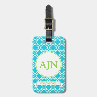 Etiqueta del equipaje del monograma de la turquesa etiquetas bolsa
