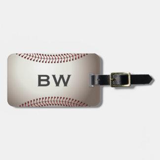 Etiqueta del equipaje del monograma del béisbol etiqueta de maleta