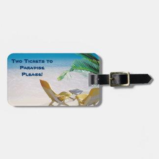 Etiqueta del equipaje del paraíso etiqueta de equipaje
