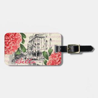 Etiqueta del equipaje del peony de Bella Italia Etiquetas Bolsas