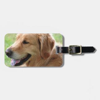 Etiqueta del equipaje del perrito del golden retri etiqueta de equipaje