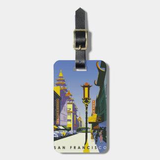 Etiqueta del equipaje del poster del viaje de San