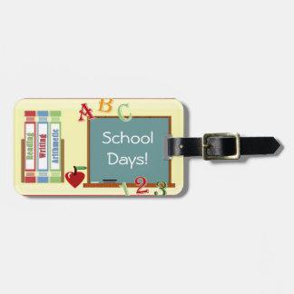 Etiqueta del equipaje del profesor de los días esc etiquetas maleta