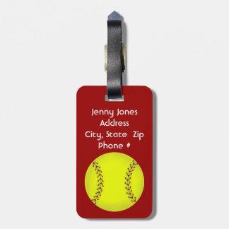 Etiqueta del equipaje del softball de Fastpitch Etiquetas Para Equipaje