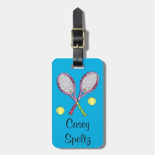 Etiqueta del equipaje del tenis etiquetas maletas