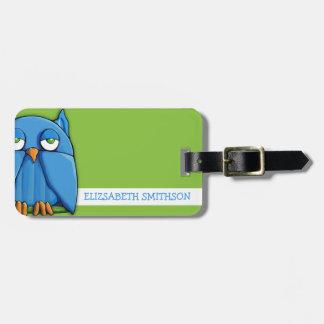 Etiqueta del equipaje del verde del búho de la agu etiquetas maleta