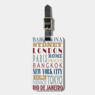 Etiqueta del equipaje del viaje del destino etiqueta de equipaje