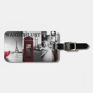 Etiqueta del equipaje del Wanderlust Etiquetas Maleta