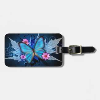 Etiqueta del equipaje - diseño: Mariposa azul Etiqueta De Maleta