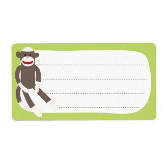 Etiqueta del espacio en blanco del mono del calcet etiquetas de envío
