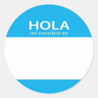 Etiqueta del español de Hola MI Nombre Es hola