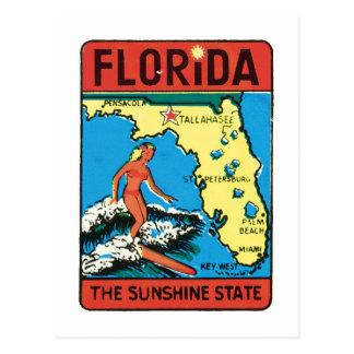 Etiqueta del estado de la Florida FL del viaje del Tarjetas Postales