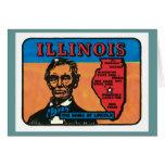 Etiqueta del estado del vintage de Illinois IL Tarjeta