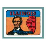 Etiqueta del estado del vintage de Illinois IL Postal