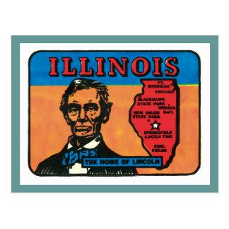 Etiqueta del estado del vintage de Illinois IL Postales