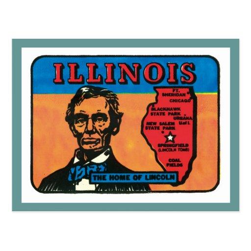 Etiqueta del estado del vintage de Illinois IL Tarjeta Postal