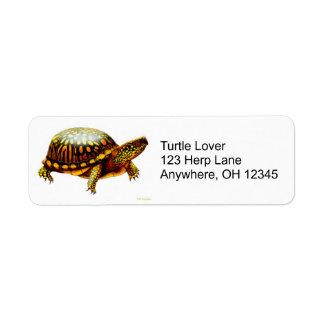 Etiqueta del este de la tortuga de caja etiquetas de remite