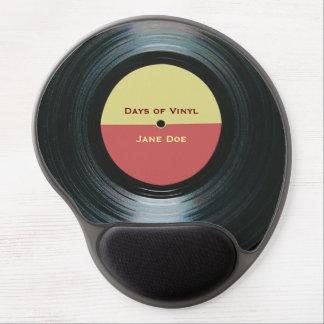 Etiqueta del expediente de la música del negro alfombrillas de raton con gel