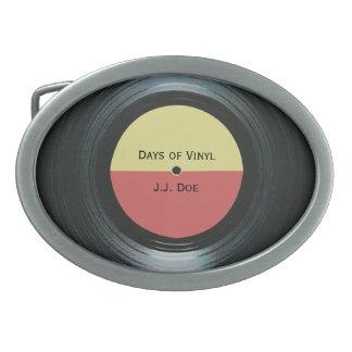 Etiqueta del expediente de la música del negro hebilla cinturon oval