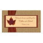 Etiqueta del favor del boda de la hoja del otoño tarjetas de visita