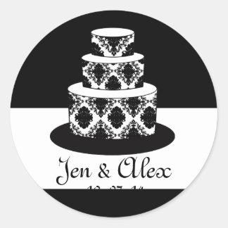 Etiqueta del favor del boda de la torta del