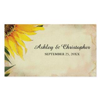 Etiqueta del favor del boda del girasol tarjetas de visita