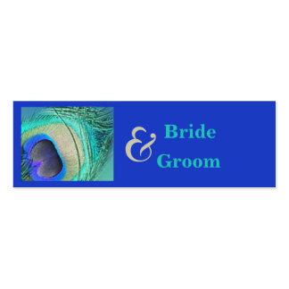 Etiqueta del favor del boda del pavo real tarjetas de visita