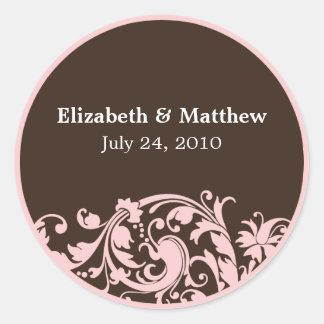 Etiqueta del favor del boda suavemente del rosa y
