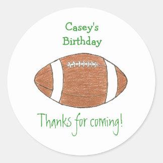 Etiqueta del favor del cumpleaños del fútbol