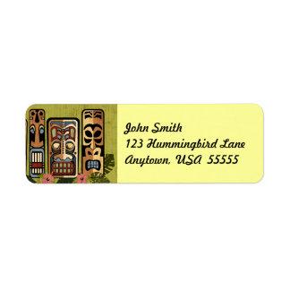 Etiqueta del fiesta de Tiki Etiqueta De Remite