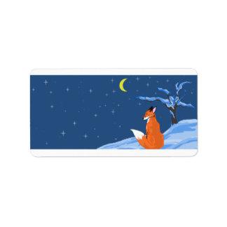 Etiqueta del Fox de la noche del invierno Etiquetas De Dirección