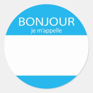 Etiqueta del francés del m appelle del je de Bonjo