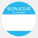 Etiqueta del francés del m'appelle del je de