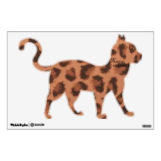Etiqueta del gato de la mamá leopardo del maullido vinilo decorativo