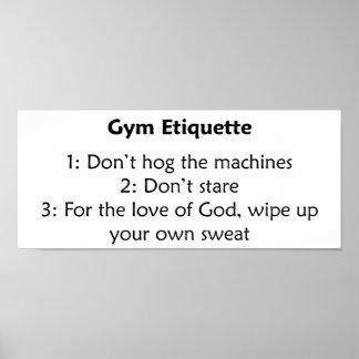 Etiqueta del gimnasio póster