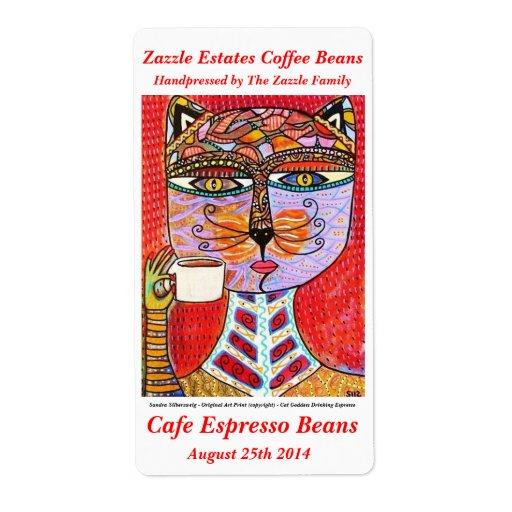 Etiqueta del grano de café - café express de consu etiqueta de envío
