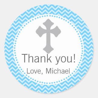Etiqueta del gris azul de la comunión del bautizo