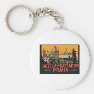 Etiqueta del hotel de la República Checa de Praga  Llavero Redondo Tipo Pin