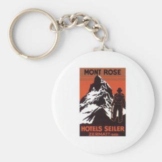 Etiqueta del hotel de Zermatt Suiza del viaje del  Llavero Redondo Tipo Pin
