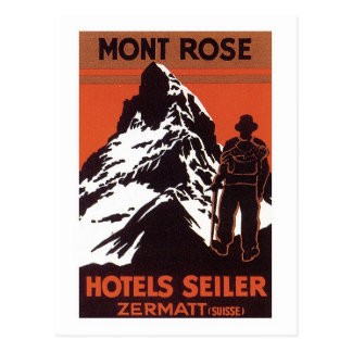 Etiqueta del hotel de Zermatt Suiza del viaje del  Postales