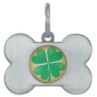 Etiqueta del hueso de perro del trébol de 4 hojas placas de nombre de mascota