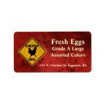 Etiqueta del huevo de la travesía del pollo etiqueta de dirección